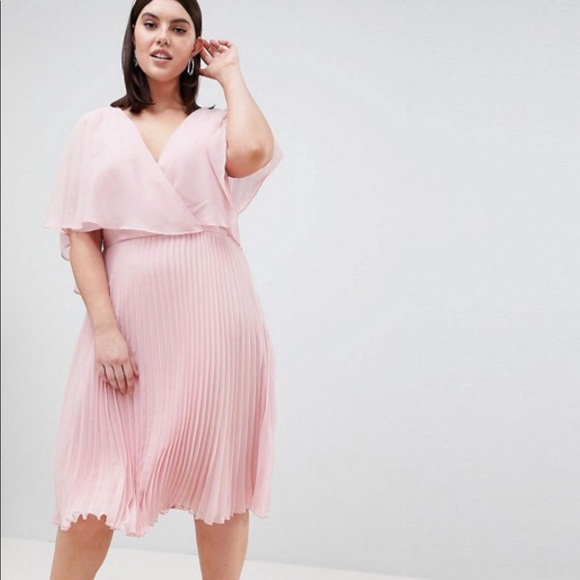 9c15d8f1ba ASOS Curve Dresses   Skirts - ASOS pink pleated cape midi dress